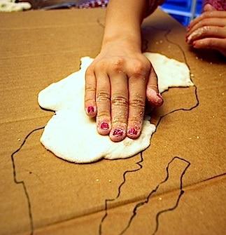 3D Salt Dough Maps for Kids Salt Dough Map Elabation United States on
