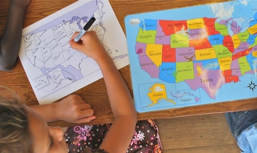 FIlling in the Map of United States- Kid World Citizen