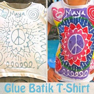 """DIY """"Glue"""" Batik T-shirts: A Colorful, Upcycled Craft for Kids"""