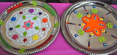 Decorate thali plates for a simple diwali craft for Art and craft for diwali decoration