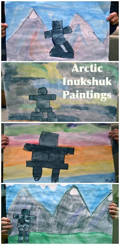 Arctic Inukshuk Paintings Inuit Art- Kid World Citizen