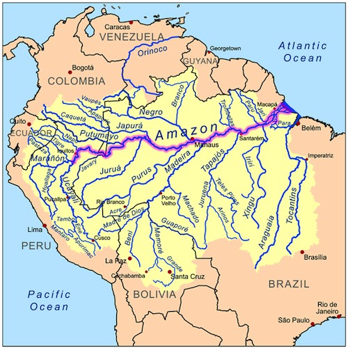 Amazon River Tributaries Map- Kid World Citizen