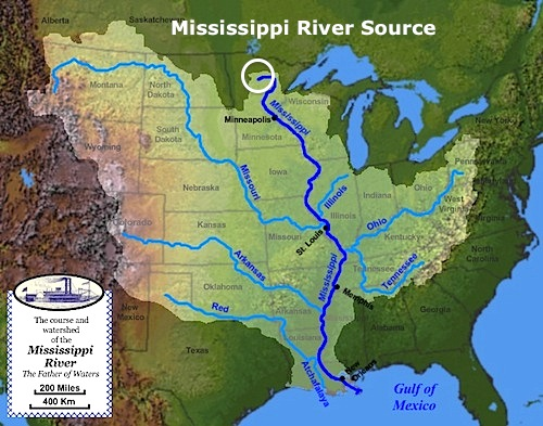 Mississippi watershed map- Kid World CItizen