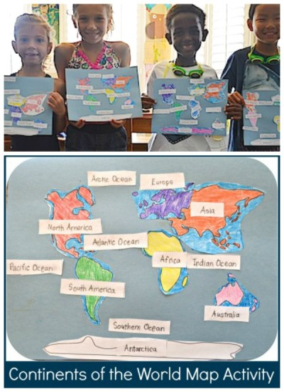 Learn Continents Oceans Map Activity- Kid World Citizen