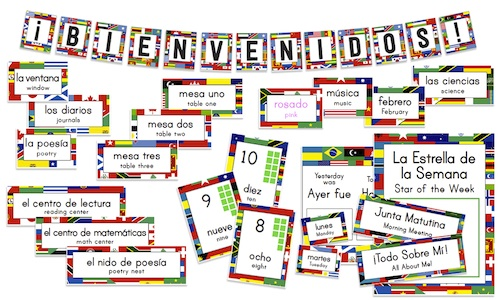 Bilingual Classroom Labels Flags- Kid World Citizen