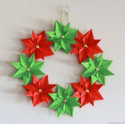 Paper Origami Christmas Wreath- Kid World Citizen
