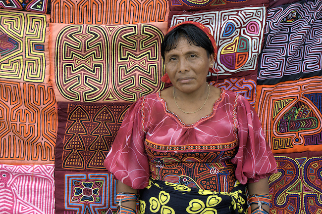 Kuna woman selling Molas in Panama City- Kid World Citizen
