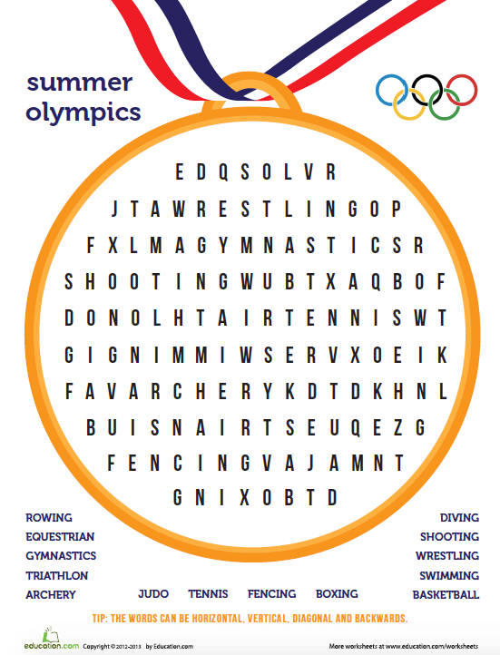 Olympics Activities Word Search- Kid World Citizen