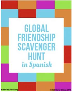 Spanish Conversation Practice Friendship Scavenger Hunt- Kid World Citizen