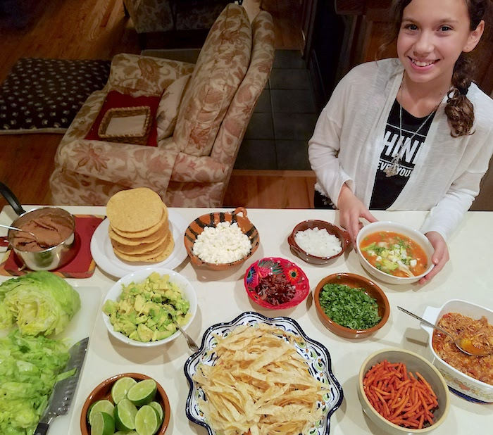 Making tortilla soup recipe with kids
