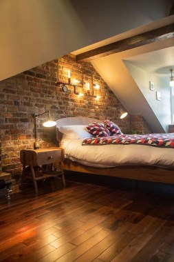 20 Office Attic Converted Into Loft Apartment Keeping Original Wood And Brick 09
