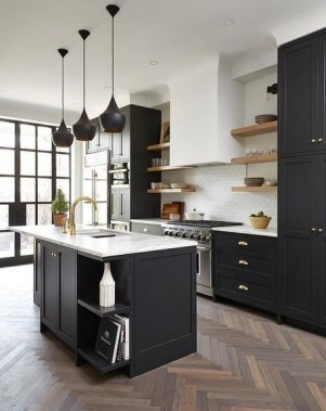 30 Stylish Black Kitchen Cabinets That Instantly Upgrade Your Kitchen Look 34