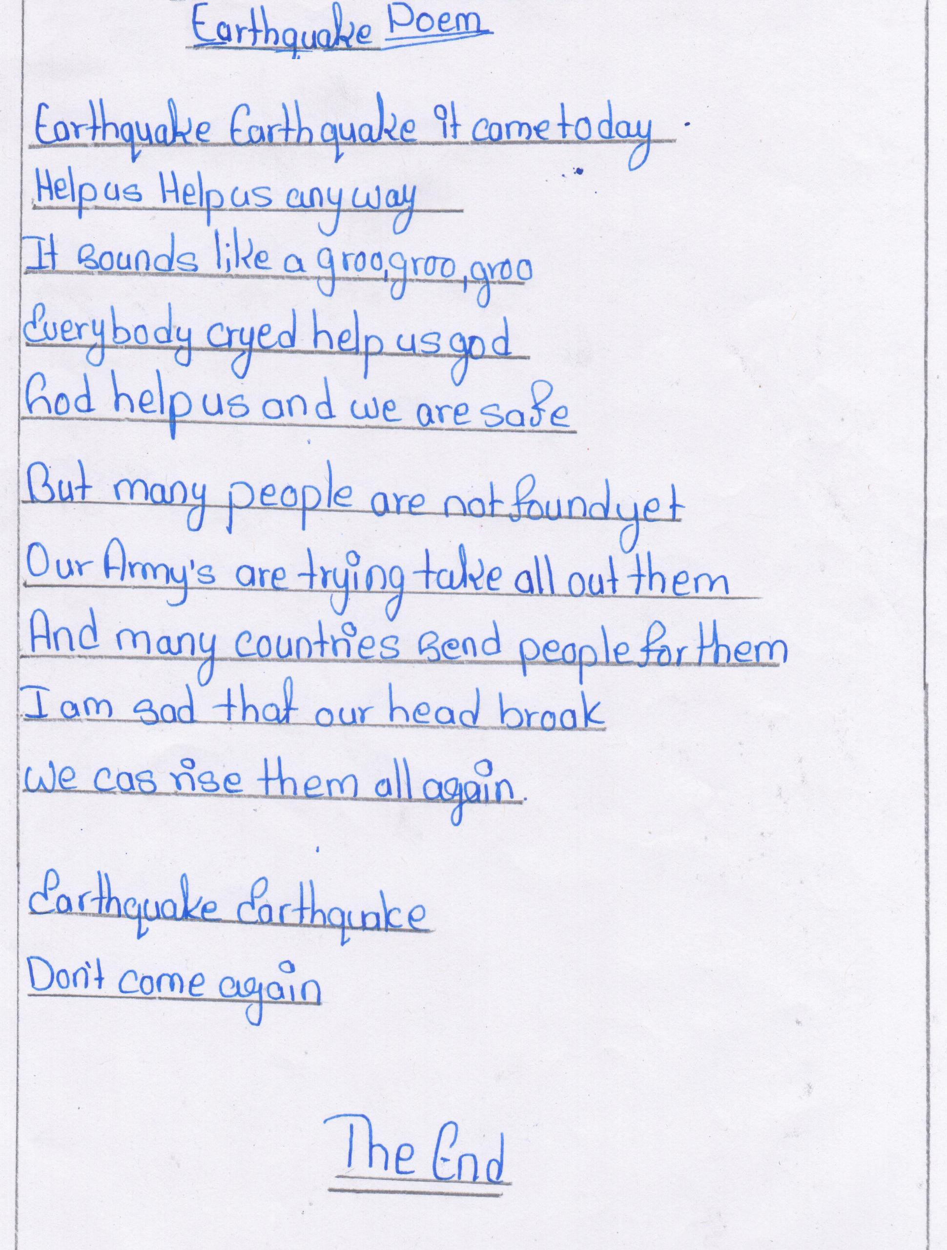 Essay On Earth Quake Essay Earthquake Essays Kidzera Short Paragraph