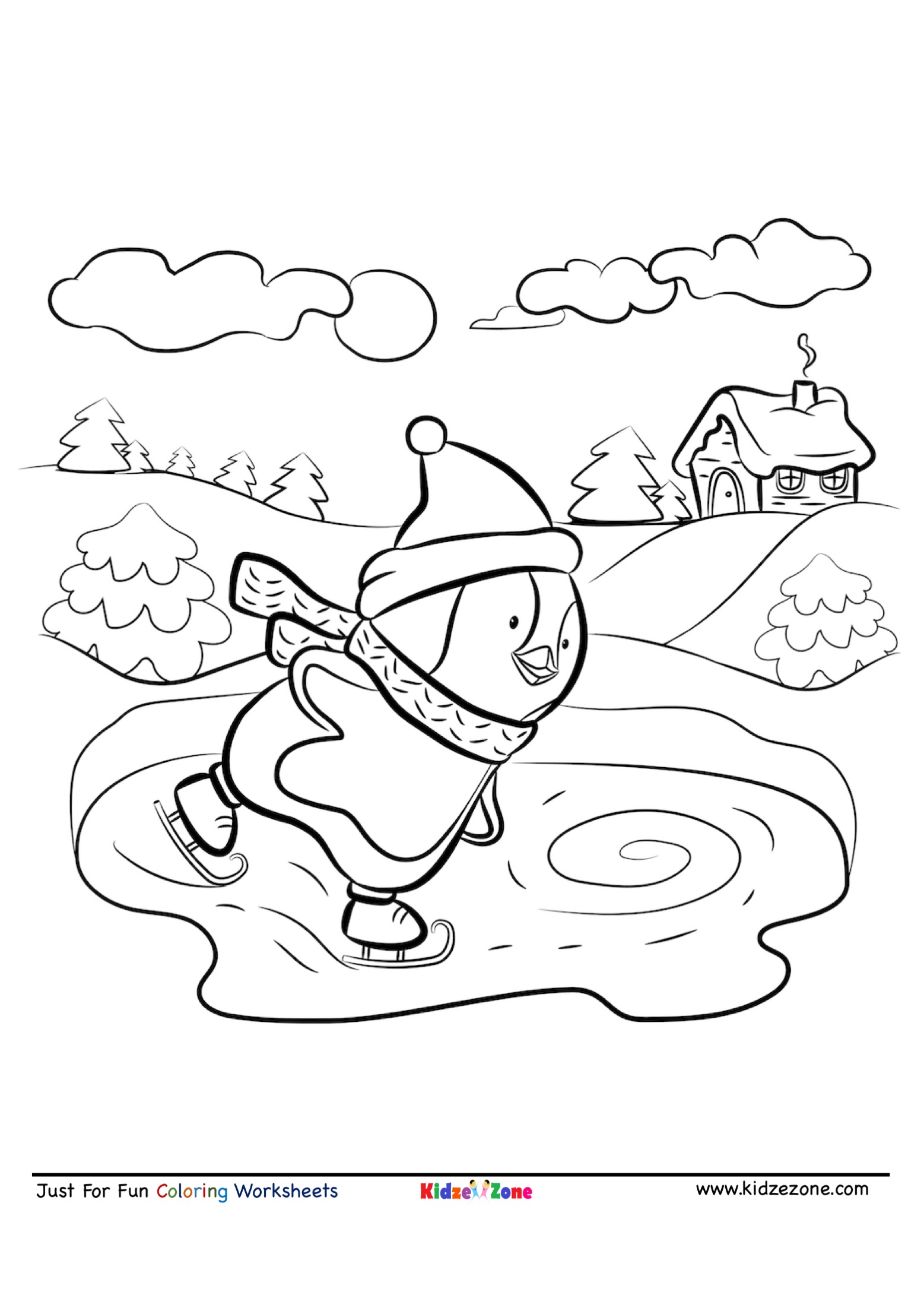 Ice Skates Coloring Pages : skates, coloring, pages, Skating, Penguin, Coloring, KidzeZone