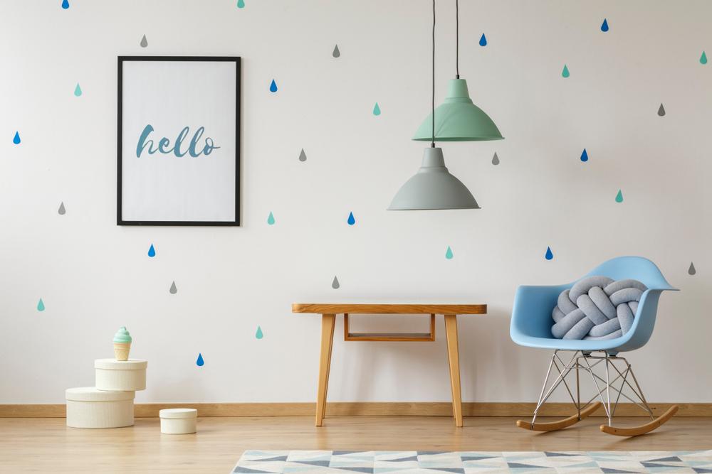 Scandinavische blauwe babykamer