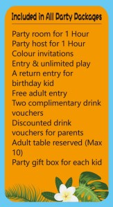 Kidzplore Party Packages Inclusions