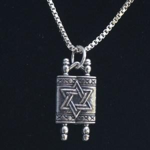 Judaica Torah Charm Necklace Detailed