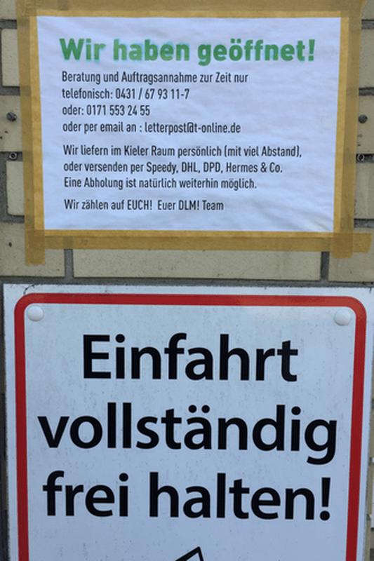 Kieler Firmen kämpfen um ihre Kundschaft im April 2020. Foto U. Nieber