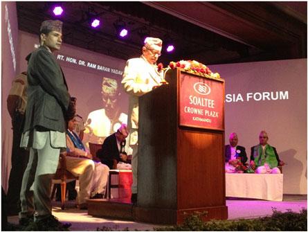 Ngài Ram Baran Yadav - Tổng thống Nepal phát biểu chào mừng Diễn đàn ARCASIA 2013