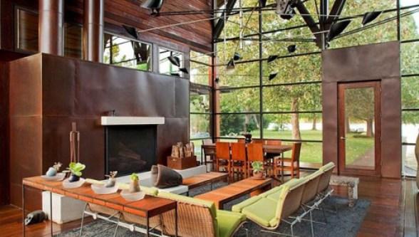 Nước, gỗ, kính là những vật liệu cốt lõi của ngôi nhà