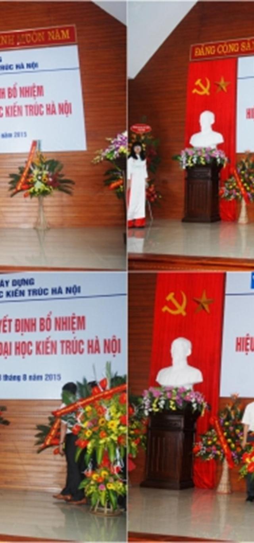 Các đơn vị đoàn thể, các vị khách quý tặng hoa chúc mừng PGS.TS.KTS. Lê Quân - Tân Bí thư Đảng ủy, Hiệu trưởng Nhà trường