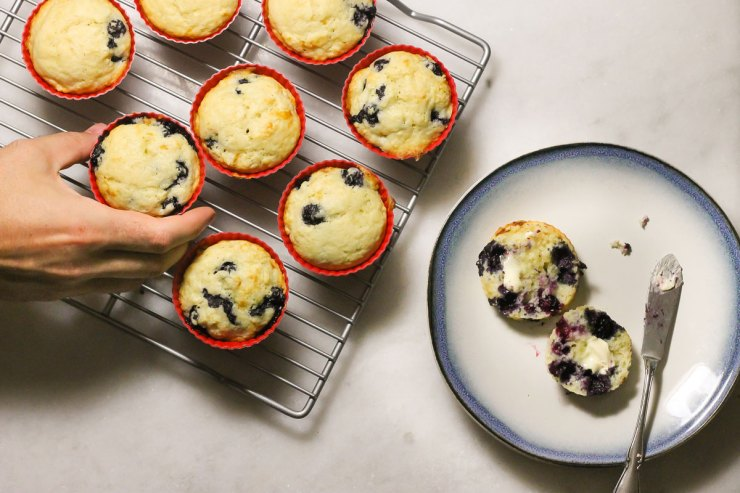 Buttermilk blueberry muffins ready to eat