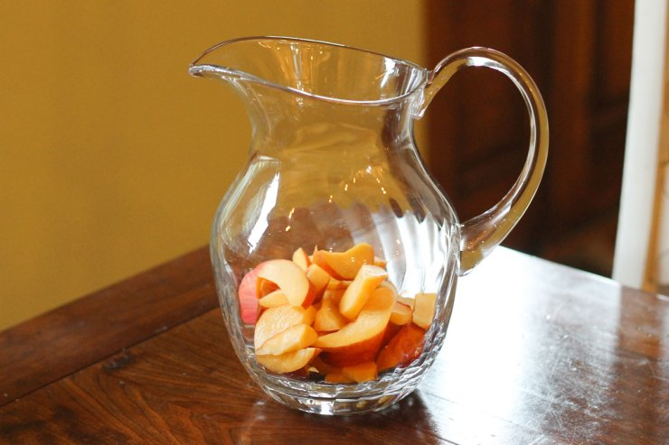 Peaches in a pitcher