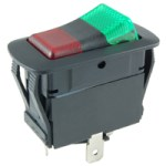 NTE 54-241W SWITCH WATERPROOF ILLUMINATED ROCKER SPDT 20A ON-OFF-ON RED-GREEN 12V