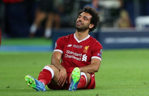 Soccer Football - Champions League Final - Real Madrid v Liverpool - NSC Olympic Stadium, Kiev, Ukraine - May 26, 2018 Liverpool's Mohamed Salah looks dejected after sustaining an injury REUTERS/Hannah McKay