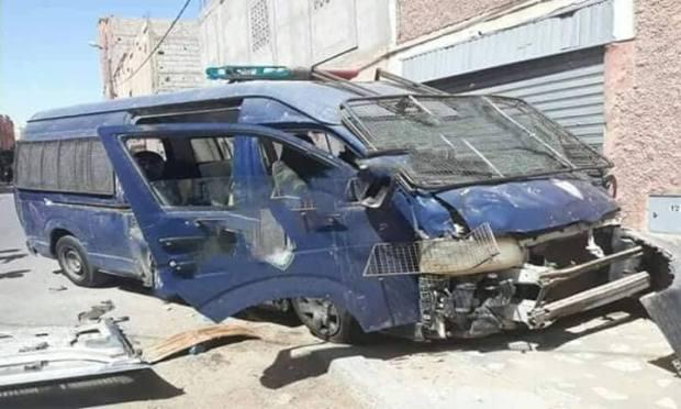 العيون.. إصابة شرطيين إثر اصطدان سيارة أمن بمنزل