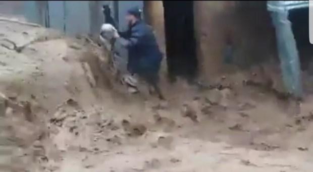 بالفيديو من ضواحي الحسيمة.. راعي غنم يقاوم السيول الجارفة لينقذ خرافه!