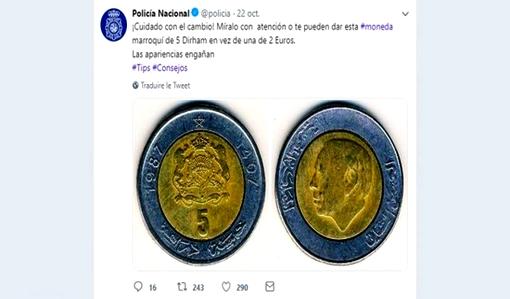 كتشبه لـ2 أورو.. الشرطة الإسبانية تحذر مواطنيها من النصب عليهم بـ5 دراهم مغربية!!