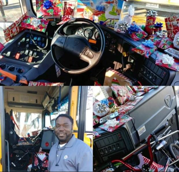"""بالصور من أمريكا.. سائق حافلة مدرسية يلعب دور """"بابا نويل"""" ويشتري هدايا للأطفال"""