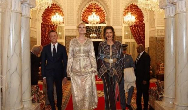 في مأدبة عشاء أقامها الملك على شرفها.. إيفانكا ترامب بالقفطان