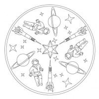 Raketen Mandala für Kindergarten, KiTa und Schule