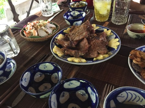 Papua salad top left, and the pork