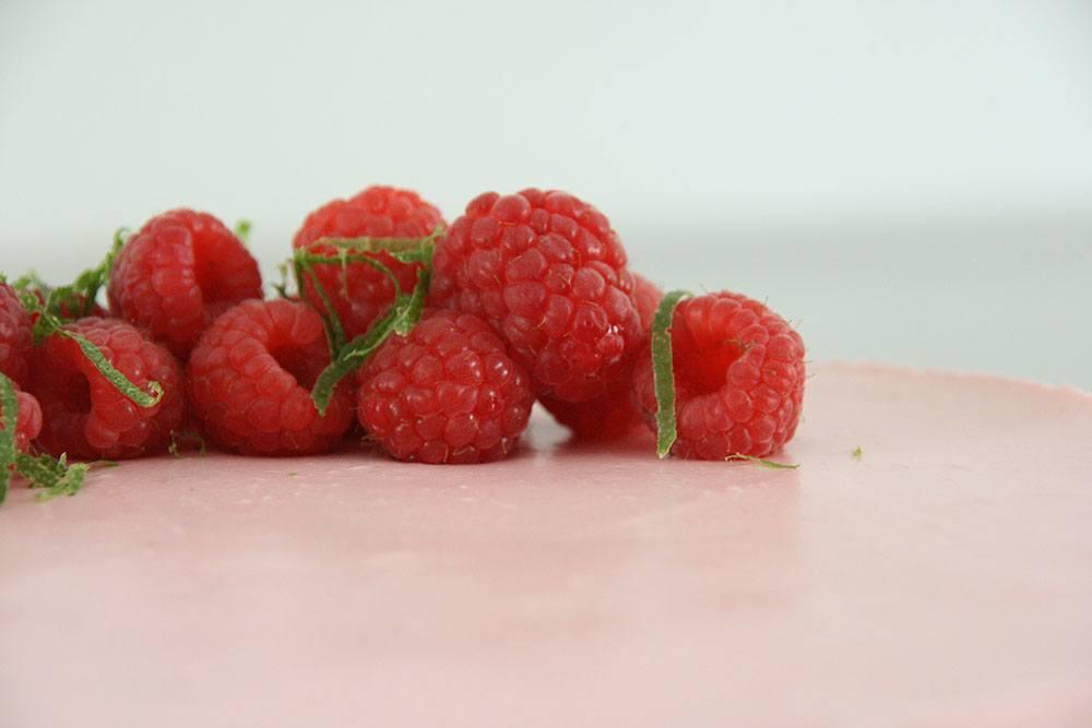 Opskrift op lækker og frisk hindbærmousse-kage