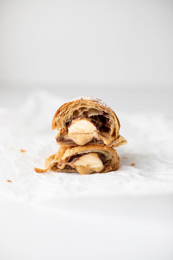 croissant heaven - croissant med chokolade, peanutbutter og banan