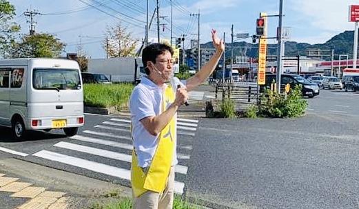 街頭演説でたくさんの応援激励 きいたかし 福岡10区 (北九州市門司区・小倉北区・小倉南区)