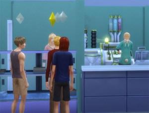 さっそく開店。お客さんが来ました。カップケーキなんで女性に人気!かと思ったら、きたのは男性客ばかり・・・