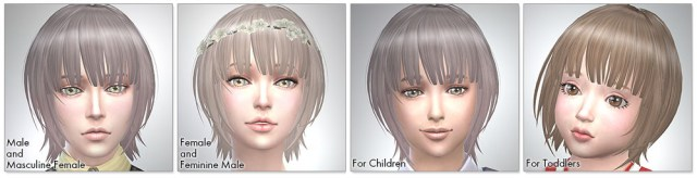 for the Sims4,Bob with Straight Bangs シムズ4 髪型 Bob with Straight Bangsです。
