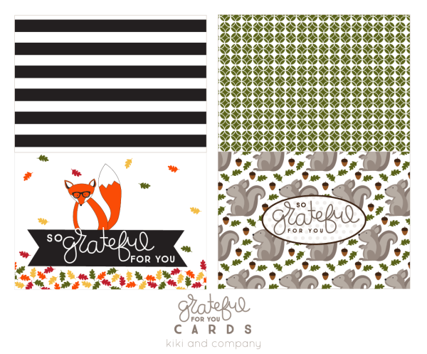 Grateful for you cards from kiki and company. Free printable and great for an activity in November