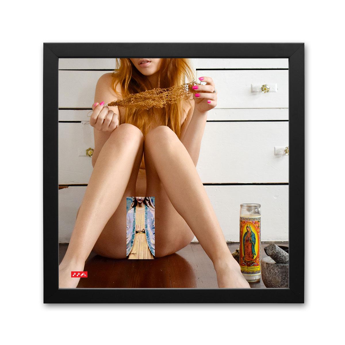 PRAY FOR US SINNERS kikicollage art nude coverup framed print by kiki honeycutt