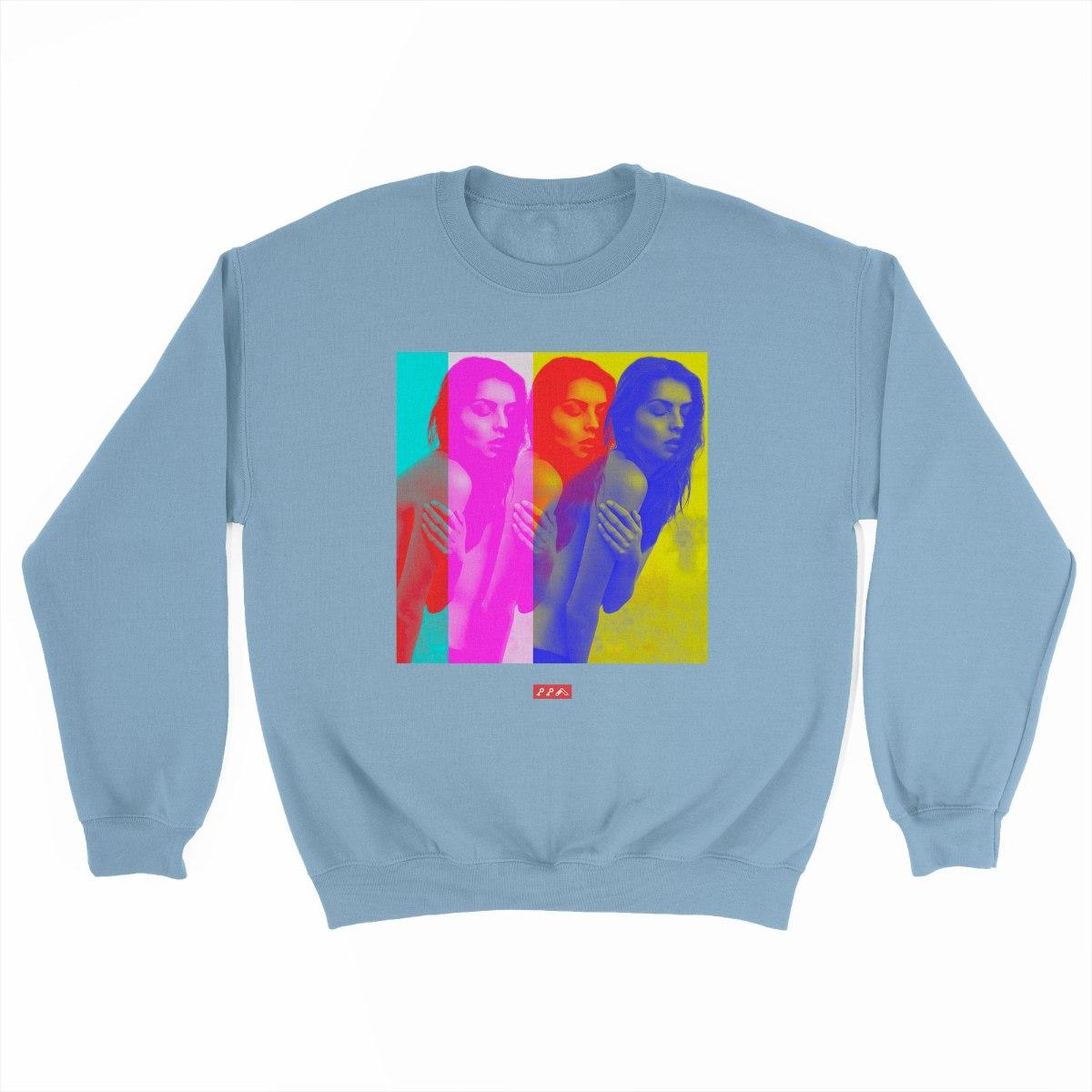 COLOURLESS COLOUR light blue crew sweatshirt at kikicutt.com