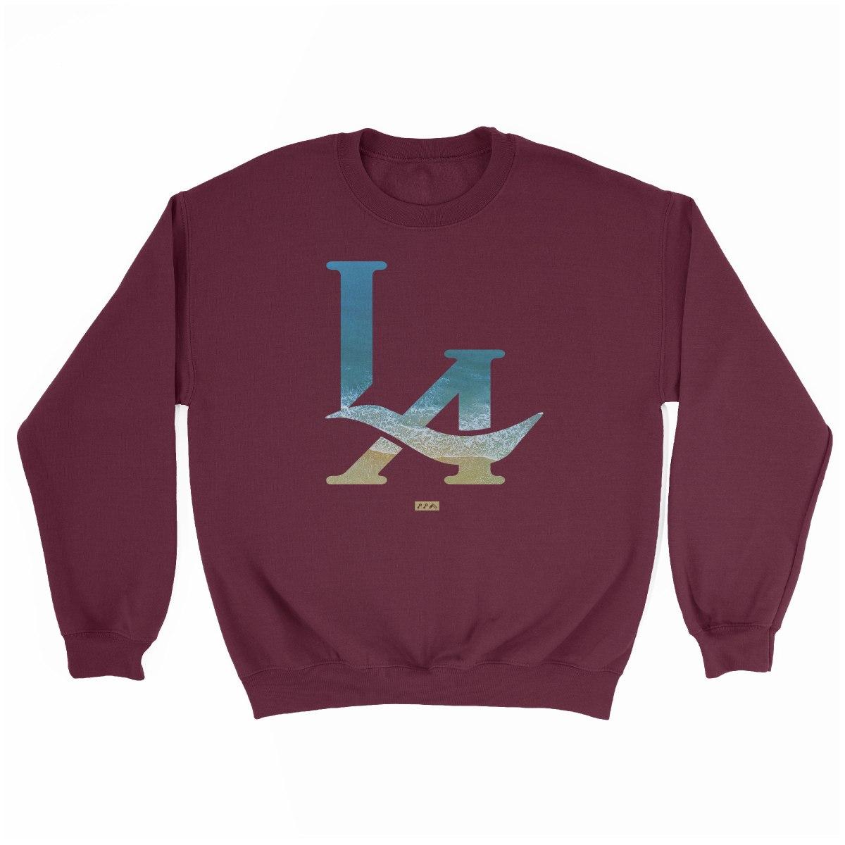 LA logo los angeles hermosa beach sweatshirt in maroon at kikicutt.com