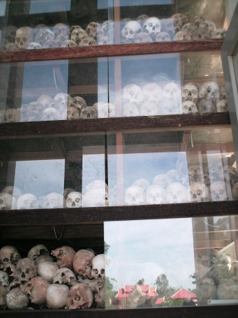 The tower of skulls at the Killing Fields
