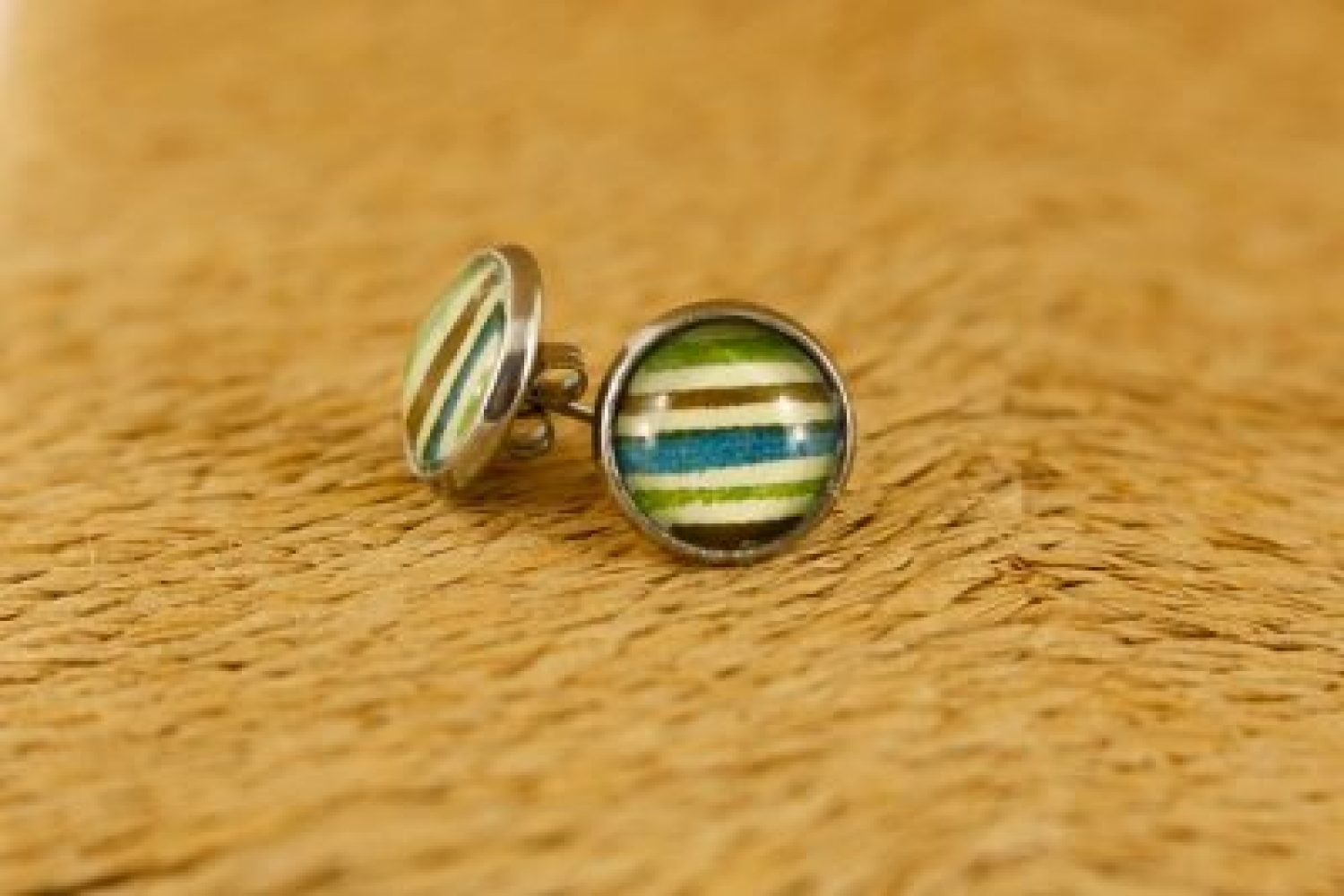 green-stripe-stud-earrings