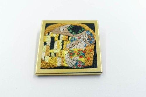 Klimt kiss embroidered brooch