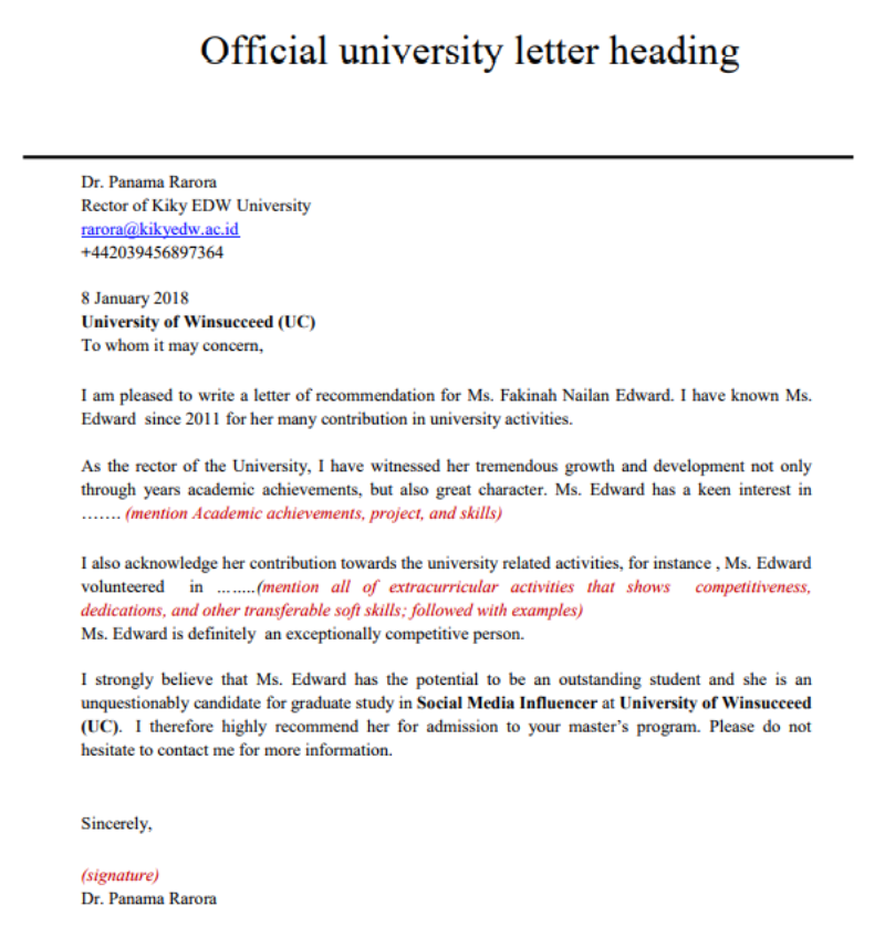 Format Menulis Surat Rekomendasi Untuk Mendaftar Universitas