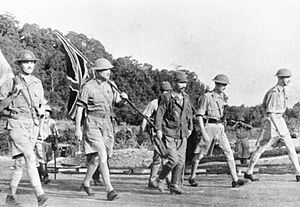 General Percival at the surrender of Singapore, February 14, 1942